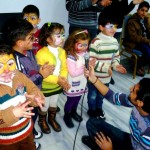 Face painting, performing and outdoor games are all activities used by ACT member trauma counselors to help displaced Syrian children express their feelings through art and play. These children are among 2,300 displaced Syrian men, women and children who have benefited from the counseling program since it was first provided in March 2012. ACT/Paul Jeffrey