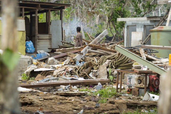 On Friday 13 March 2015, category 5 Tropical Cyclone Pam lashed the islands of Vanuatu bringing with it destructive winds surpassing 300kph, heavy rainfall, storm surges and flooding. Large parts of the country were severely affected. Credit: Julia Loersch/Act for Peace/ACT
