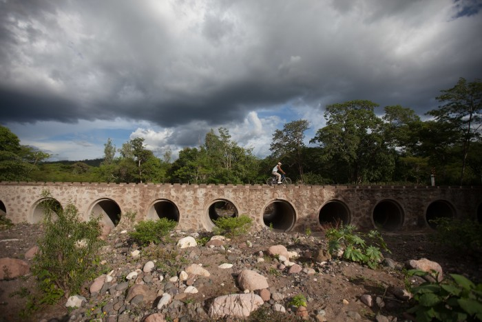 A bridge near Pueblo Nuevo in northern Nicaragua, that no water has passed under for months. The rains just didn't come. In wide areas across El Salvador, Honduras and Nicaragua, harvests have been completely destroyed by the drought causing enormous hardship for many thousands of poor subsistence farming families. The drought in this area is believed to be an effect of climate change. Photo: Sean Hawkey