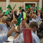 Delegates to the second ACT General Alliance assembly in Punta Cana cast their votes. Photo: Simon Chambers