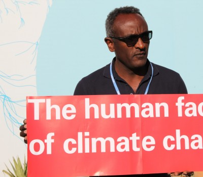 Pictures of the Human face of climate change stunt during the COP22