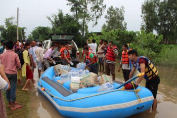 ACT Nepal Forum members delivered relief supplies after severe flooding damaged or destroyed over 180,000 homes this year. Photo: LWF Nepal