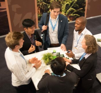 LWF youth delegation members discussing climate change issues at COP23 in Bonn, Germany. Photo: Simon Chambers/ACT