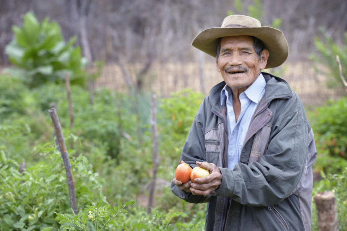 Photo of man working in garden in Bolivia