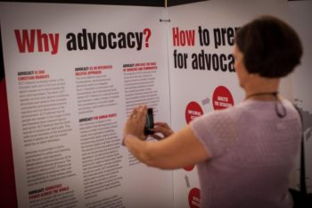 ACT Alliance second general assembly being held in the Dominican Republic. ACT has 140 member organisations working on humanitarian assistance, development and advocacy. Exhibitions on ACT's work are already open in the conference centre. Photo: Simon Chambers/ACT/PWRDF