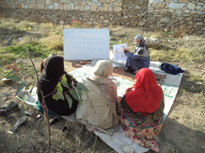 The midwife of Nawdamorra Sub Health Center in Laghman province conducted an awareness session on COVID-19 to sensitize the women in the community. Photo: CWSA
